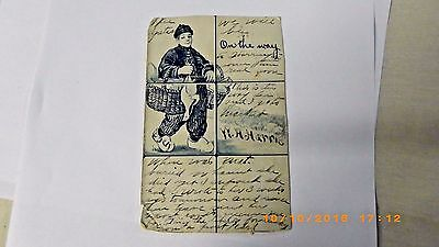 Postcard- 1906 Chinese Japanese Carrying Basket of Ducks Chickens