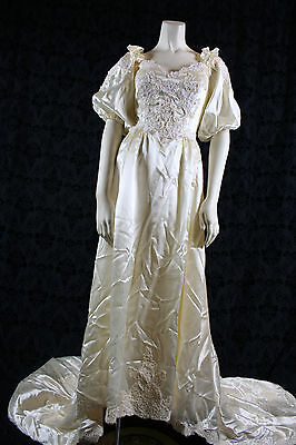 vintage Ivory SATIN WEDDING GOWN  7' train – bridal gown, lace, hand made