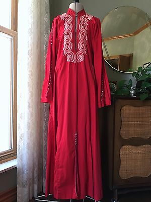 Vintage Red Caftan Cotton Embroidered Pink Afghan Dress Tribal Boho 60s 70s