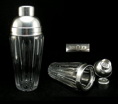 Vintage Silver-Plated Metal & Glass Cocktail Shaker