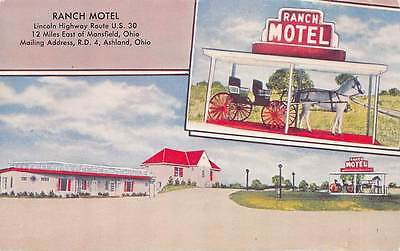 Ranch Motel Lincoln Highway US 30 Mansfield Oh horse and buggy 15485N