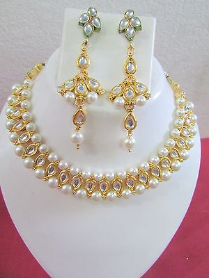 Indian Bollywood Ethnic Gold Plated Bridal Pearl Kundan New Jewelry Necklace Set