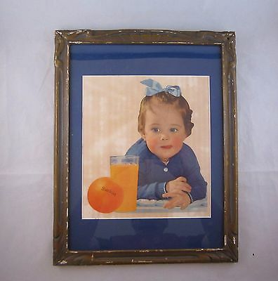 "Vintage 1940's SUNKIST BABY ""Feeding The Child For Health"" Wood Framed Print"