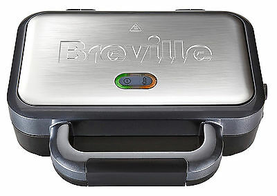 Deep Fill Sandwich Toaster Removable Plates Stainless Steel Silver Healthy New