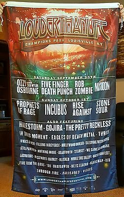 Louder than Life Line up Flag Huge 3x5ft Rob Zombie Five Finger Ozzy Stone Sour