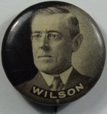 """1912 Woodrow Wilson 3/4"""" Picture Celluloid Campaign Button Mint, The Reeded Edge"""