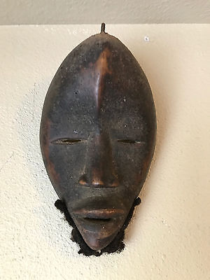Antique Wooden Hand Carved Dan Tribal Mask with Unique Real Facial Hair Beard