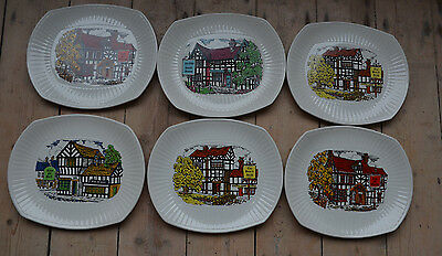 6 x VINTAGE ENGLISH IRONSTONE POTTERY TAVERN STEAK & GRILL PLATE PUBS
