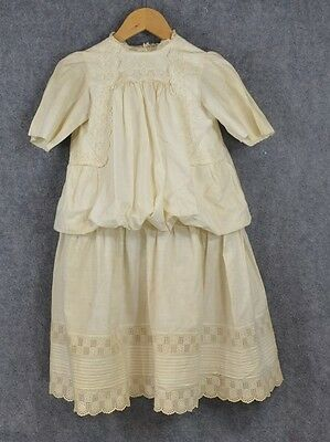 white cotton lace Edwardian child girl drop waist dress antique original