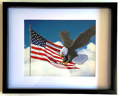 """Framed EAGLE With American Flag 8""""x10"""" Art Print Wall Hanging Home Decor"""