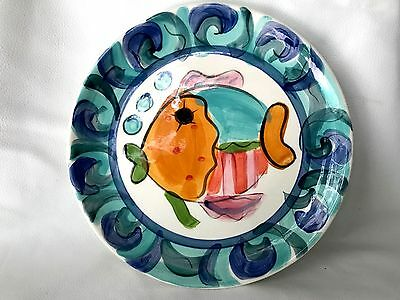 "Excellent condition Vicki Carroll Splish Splash Fish Dish Plate 10"" c 1994"