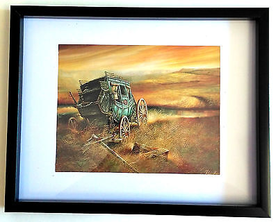"""Framed OLD STAGECOACH 8""""x10"""" Western Art Print Wall Hanging Home Decor"""