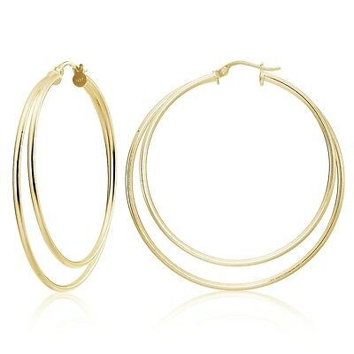 Gold Flash Sterling Silver Double Row Large 48mm Round Hoop Earrings
