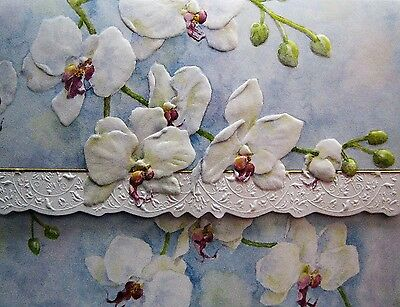 Carol Wilson Fine Arts Stationery 10 Note Cards Envelopes Blank White Orchid