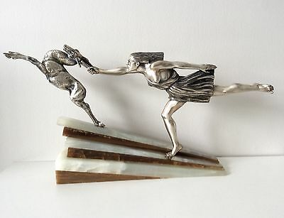 Aurore Onu Silver plated bronze Art Deco Chasing the Hind sculpture