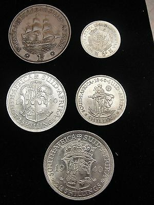 5 Piece South Africa Coin Set 1D Copper, 6D, 1 ,2, 21/2 Silver Shillings