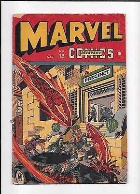 Marvel Mystery Comics #72 ==> Gd/vg Timely Human Torch 1946