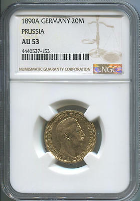 1890 A German States Prussia, 20 Mark Gold, NGC AU53