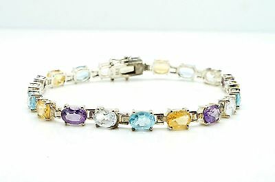 Beautiful Multi Gemstone 8'' Sterling Silver Link/Tennis Bracelet ALX