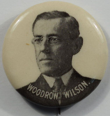 """1912 Woodrow Wilson 7/8"""" Black And White Picture Celluloid Campaign Button Mint!"""