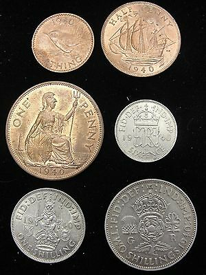 6 Piece Great Britain Coin Set 3 Copper, 3 Silver Coins * See Description *