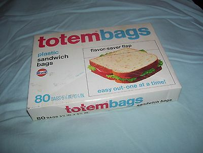 Vintage Box of 80 Gulf Oil Totem Plastic Sandwich Bags NIP Sealed totembags
