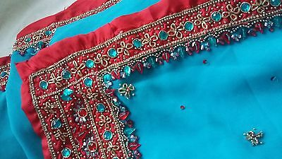 Beautiful Blue Red Contrast Border Blouse Included Sari Saree