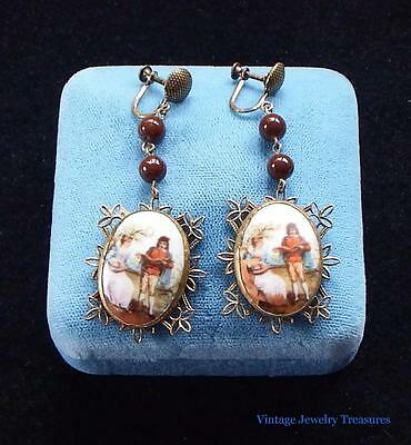 Antique Victorian Porcelain Portrait Chandelier Brass Earrings