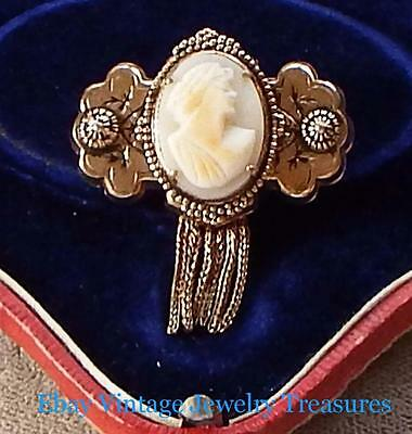 Vintage Antique Art Deco Victorian Carved Shell Cameo Tassle Pin