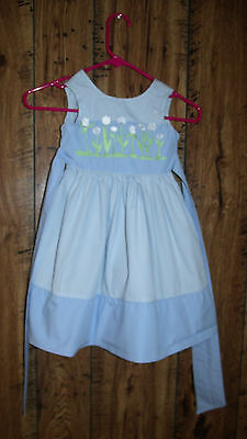 TODDLER  GIRL'S SIZE 3 BLUE w/ EMBROIDERED FLOWERS DRESS SPRING/SUMMER