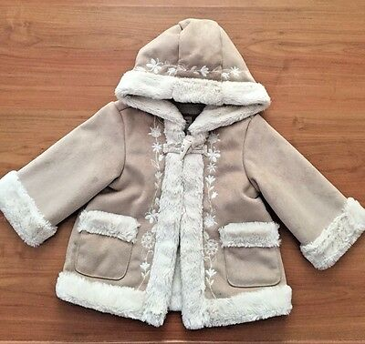 Baby Gap 12-18 M Faux Suede Fur Cozy Hooded Embroidered Jacket Baby Girls EUC