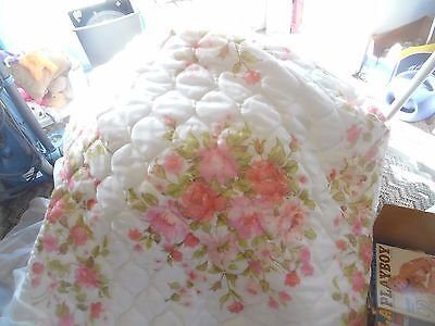Vintage white with pink flowers & lace quilted bedspread queen