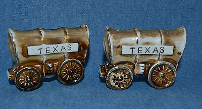 """Vintage Set Of Salt & Pepper Shakers Cute Covered Chuck Wagons Marked """"texas"""""""