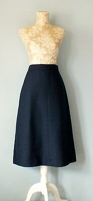 True Vintage LOUIS FERAUD ladies WOOL A-line navy skirt Size UK 12.