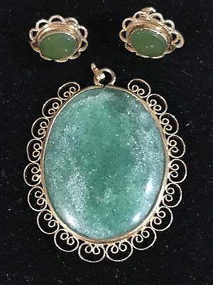 Antique Vintage Art Deco Green Jade Jadeite  Pendant Earrings 12k GF Gold Filled