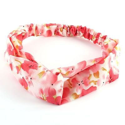 Women Elastic Head Wrap Headband Twisted Knotted Hairwear Hair Band Pink Color