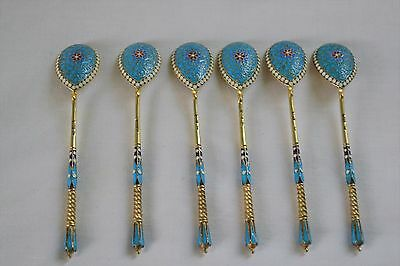 Set of Antique Russian 84 Silver and Enamel Spoons - Moscow Saltykov