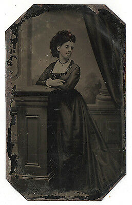 Tintype 1860's Young Woman Black Dress and Hat Elegant Pose Attractive