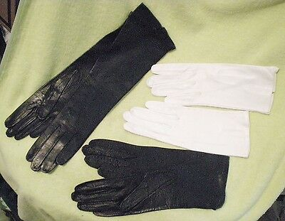 Lot of 3 Kidd Leather Gloves Opera Barra Italy Black & white Bamby