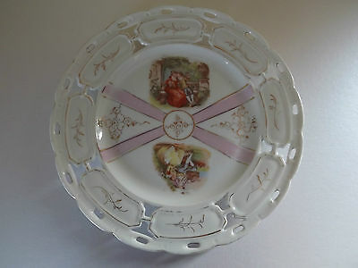 Vintage Pierced Plate with Fragonard Pictures