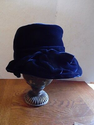 Vintage Dana Marte Original Union Made Navy Blue Velour Floppy Ladies Hat