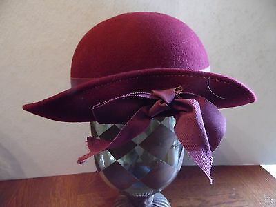 Vintage Plum Purple Bollman USA Doeskin Wool Ladies Hat With Ribbon