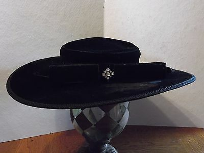 Vintage Black Velour Flat Wide Brim Ladies Hat With Rhinestone Pin