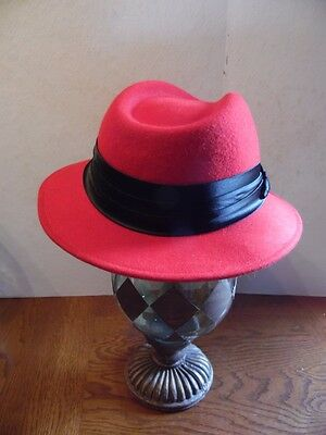 Vintage Bollman Red Wool Ladies Fedora Style Hat W/ Black Ribbon Band