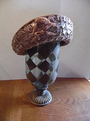 Vintage Taupe Woven Straw Raffia Ladies Hat Union Made USA