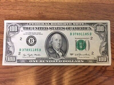 Old Money - New York B Federal Reserve Note - $100 One Hundred Dollar Bill 1977