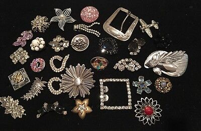 Vintage Mismatched Single Earring Brooch Lot for Parts Crafts Rhinestone Beaded