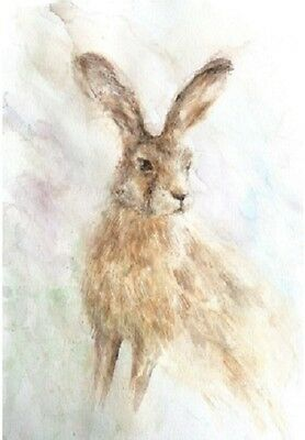 Limited Edition Signed Print Of Original Watercolour Painting  'sitting Hare'