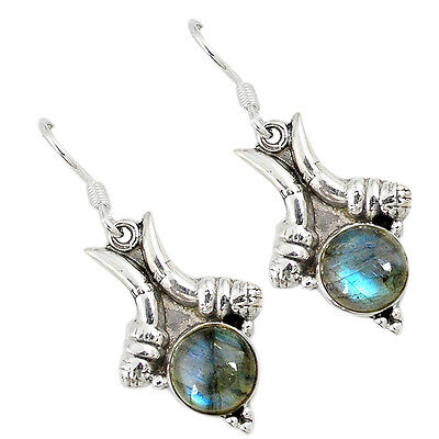 Natural blue labradorite round 925 sterling silver dangle earrings k24470