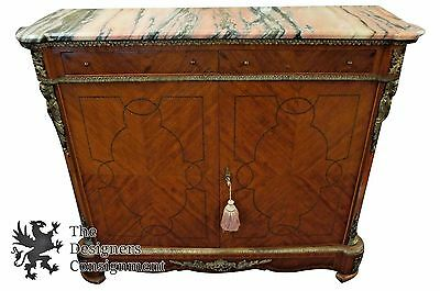 French Empire Mahogany Inlaid Console Buffet Table Knockdown Pink Marble Bronze
